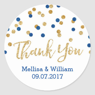 Navy Blue Gold Confetti Wedding Favor Tags Classic Round Sticker