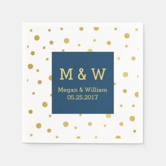Navy Blue Gold Confetti Wedding Monogram Paper Napkin