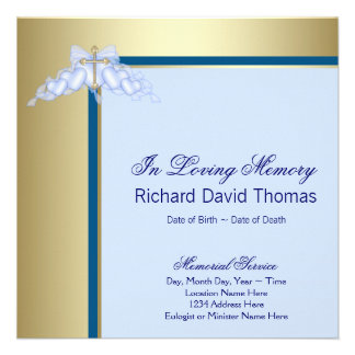 Navy Blue Gold Cross In Loving Memory Memorial Custom Invite