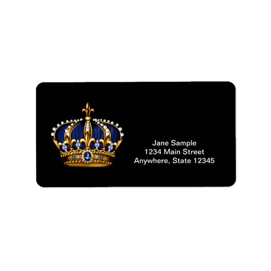 Navy Blue Gold Crown Prince Address Labels