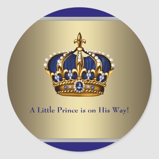 Navy Blue Gold Crown Prince Baby Shower Sticker Zazzle Com