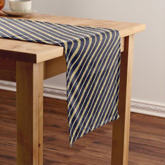 Navy Blue Gold Diagonal Stripes Short Table Runner