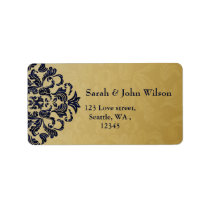 """navy blue"" gold elegance return address label"