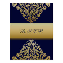 """navy blue"" gold elegance RSVP cards"