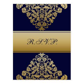 """""""navy blue"""" gold elegance RSVP cards"""