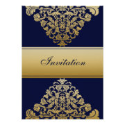 navy blue and gold wedding invites by mgdezigns