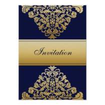 """navy blue"" gold elegance wedding invitation"