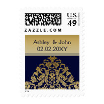 """navy blue"" gold elegant wedding stamps"