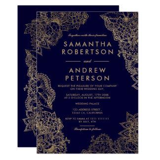 Navy blue gold floral illustration elegant wedding invitation