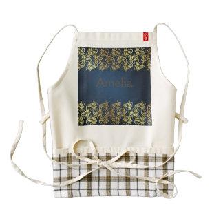 navy blue,gold floral,pattern,chic,elegant,damask, zazzle HEART apron