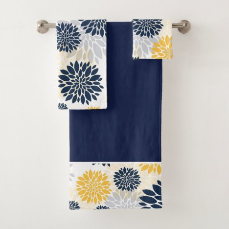 Navy Blue Gold Flower Pattern Bath Towel Set