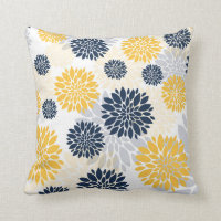 Navy Blue Gold  Flower Pattern Throw Pillow