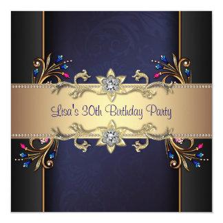 Navy Blue Gold Flowers Womans 30th Birthday Custom Invite