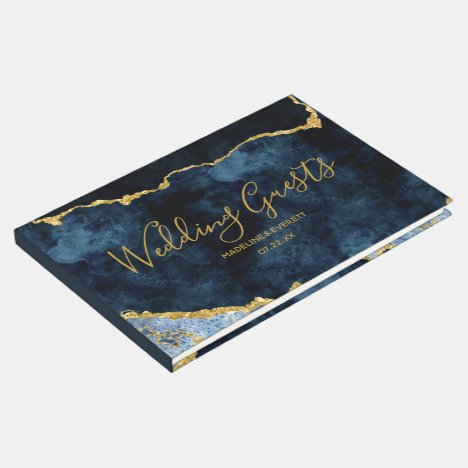 Navy Blue Gold Foil Agate Marble Gilded Wedding Guest Book