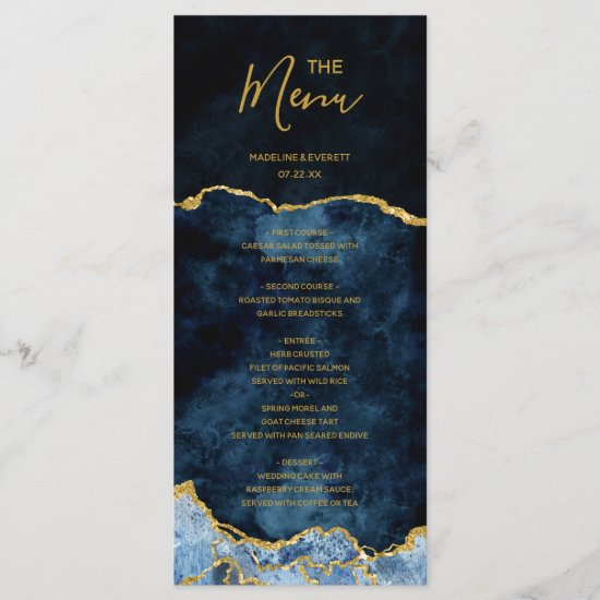 Navy Blue Gold Foil Agate Marble Wedding Menu