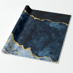 """Navy Blue & Gold Foil Agate Marble Wrapping Paper<br><div class=""""desc"""">Navy Blue & Gold Foil Watercolor Marble Agate Gilded Geode Design,  with Modern and Script fonts. Trendy and Chic Wedding Or Party Gift Wrap Paper! ~ Check my shop to see the entire wedding suite for this design!</div>"""