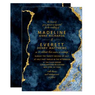 Navy Blue & Gold Foil Agate Wedding Invitations