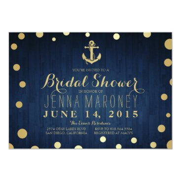 GreenLeafDesigns Navy Blue Gold Foil Anchor Nautical Bridal Shower Card