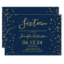 Navy Blue Gold Foil Dots Sweet 16 Birthday Party Invitation