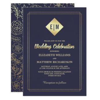 Navy Blue | Gold Foil Elegant Wedding Invitations