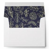 Navy Blue | Gold Foil Floral Wedding Envelopes