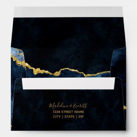 Navy Blue & Gold Foil Gilded Agate Marble Wedding Envelope
