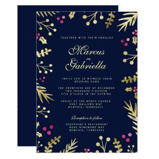 Navy Blue Gold Foil Holly Berry Christmas Wedding Card