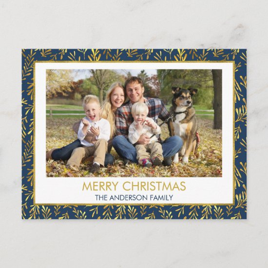 Navy Blue - Gold Foil  Merry Christmas Photo Holiday Postcard