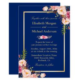 Navy Blue Gold Frame Pink Floral Wedding Card ...