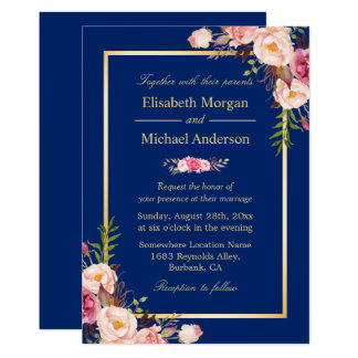 Navy Blue Gold Frame Pink Floral Wedding Card