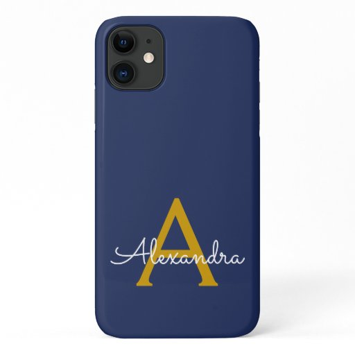 Navy Blue Gold Girly Script Monogram Name Modern iPhone 11 Case