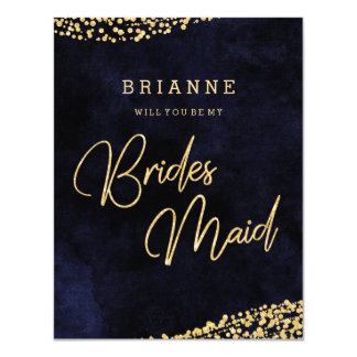 Navy Blue & Gold Glam Will You Be My Bridesmaid Card