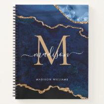 Navy Blue Gold Glitter Agate Geode Monogram Notebook