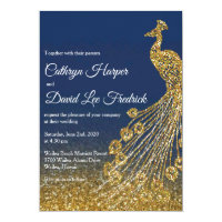 Navy Blue & Gold Glitter Peacock Wedding Invite