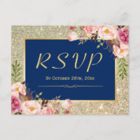 Navy Blue Gold Glitter Pink Floral RSVP Response Invitation Postcard