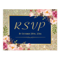 Navy Blue Gold Glitter Pink Floral RSVP Response Postcard