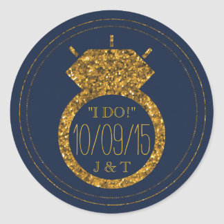 Navy Blue & Gold Glitter Wedding Ring Stickers