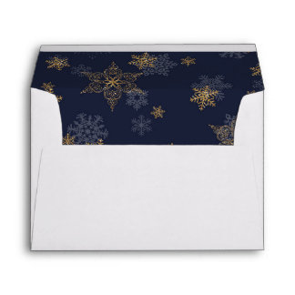 Navy Blue Gold GlitterSnowflakes Liner White Envelope