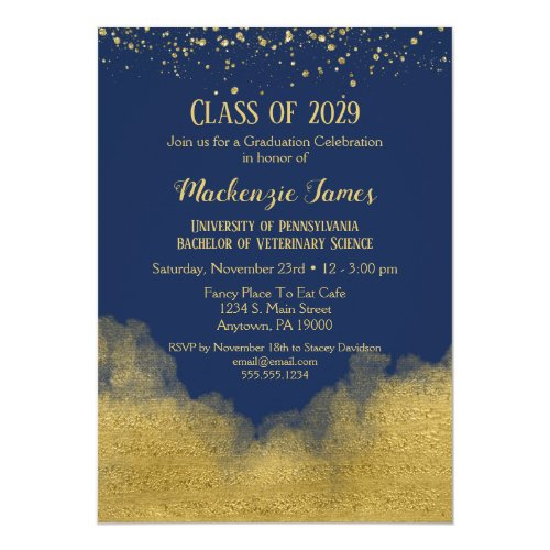 Navy Blue Gold Graduation Party Invitation