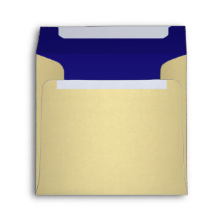 Navy Blue Gold Linen Envelope
