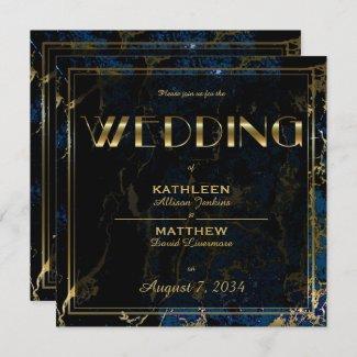 Navy Blue & Gold Marble Wedding Invitations