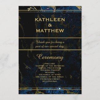 Navy Blue & Gold Marble Wedding Programs