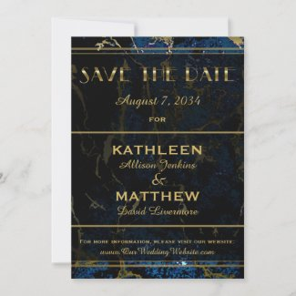 Navy Blue & Gold Marble Wedding Save the Date