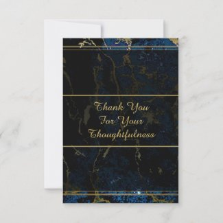 Navy Blue & Gold Marble Wedding Thank You Notes