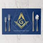 """Navy Blue Gold Masonic Paper Placemats 