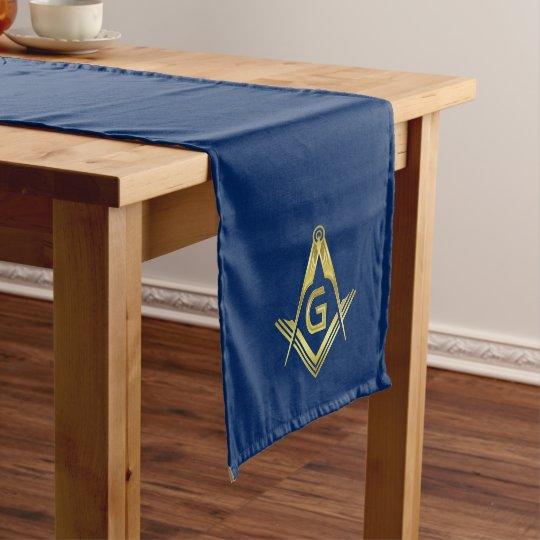Navy Blue Gold Masonic Table Runners Freemason