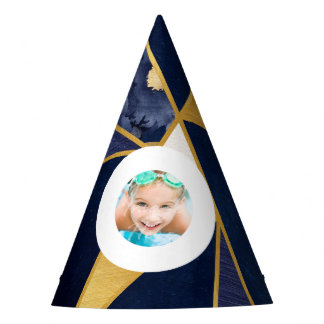 Navy Blue Gold Modern Geometric Triangles Photo Party Hat