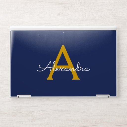 Navy Blue Gold Modern Script Girly Monogram Name HP Laptop Skin