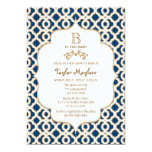 Navy Blue Gold Moroccan Gender Neutral Baby Shower 5x7 Paper Invitation Card