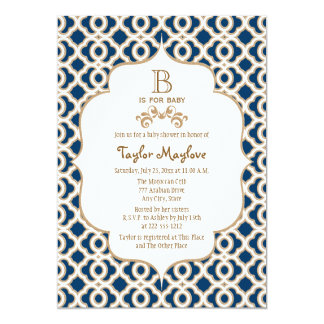 Navy Blue Gold Moroccan Gender Neutral Baby Shower Card